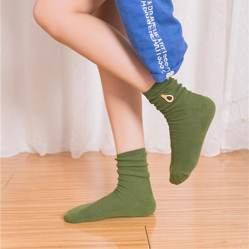 9bc721073 Cute Embroidery Avocado Banana Cherry Peach Cartoon Fruit Print Girls  Kawaii Socks Korean Harajuku socks for