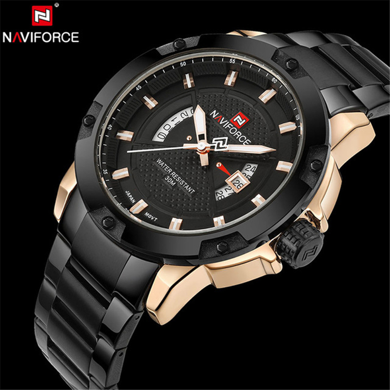 Mens Watches Top Brand Luxury NAVIFORCE Fashion Quartz Watch Men Waterproof Full Steel Gold Wristwatches relogio masculino Clock men fashion quartz watch mans full steel sports watches top brand luxury cuena relogio masculino wristwatches 6801g clock