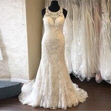 Göz alıcı Denizkızı düğün elbisesi Jewel Boyun Çizgisi Kolsuz Şapel Tren Vestido De Novia Vintage Dantel gelin elbiseleri Custom Made