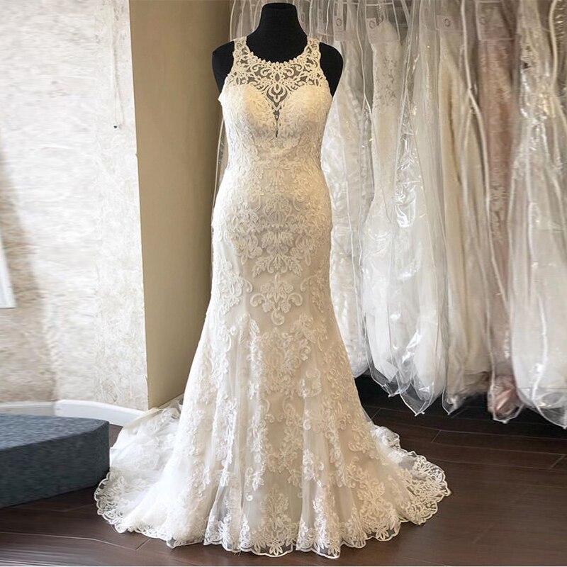 Glamorous Mermaid Wedding Dress Jewel Neckline Sleeveless Chapel Train Vestido De Novia Vintage Lace Bridal Dresses Custom Made
