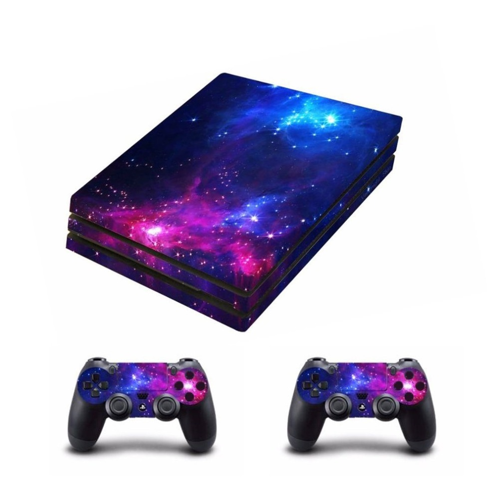 Waterproof Whole Body Vinyl Skin Sticker Decal Cover for Sony PS4 Pro Console and 2Pcs Controllers Protective Skins