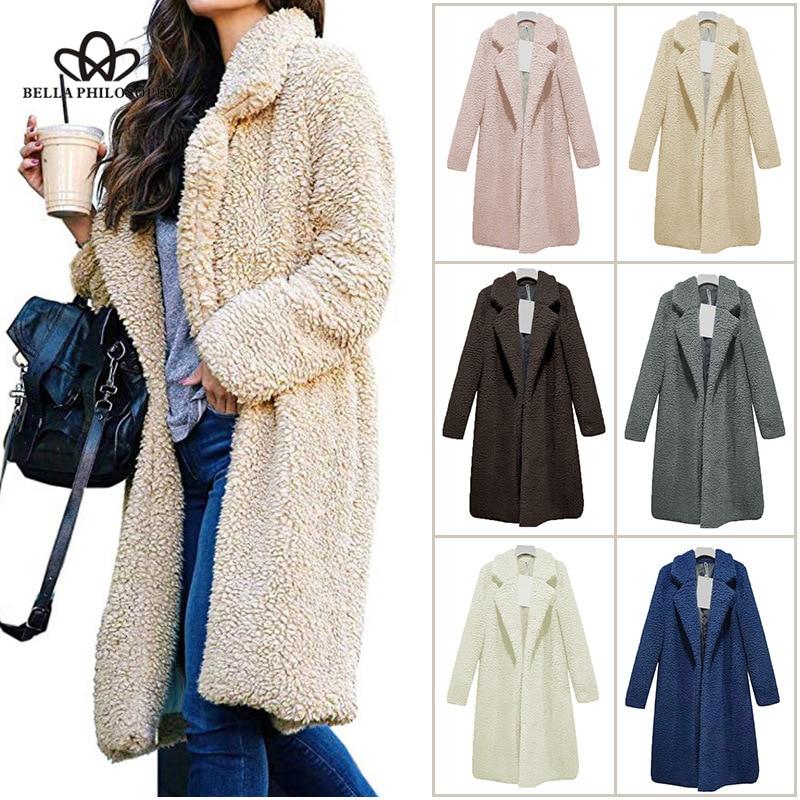 Bella Philosophy 2018 Explosion Models Women Jacket Lapel Faux Fur Cardigan Fur Coat In The Long Paragraph Wild Warm Sweater