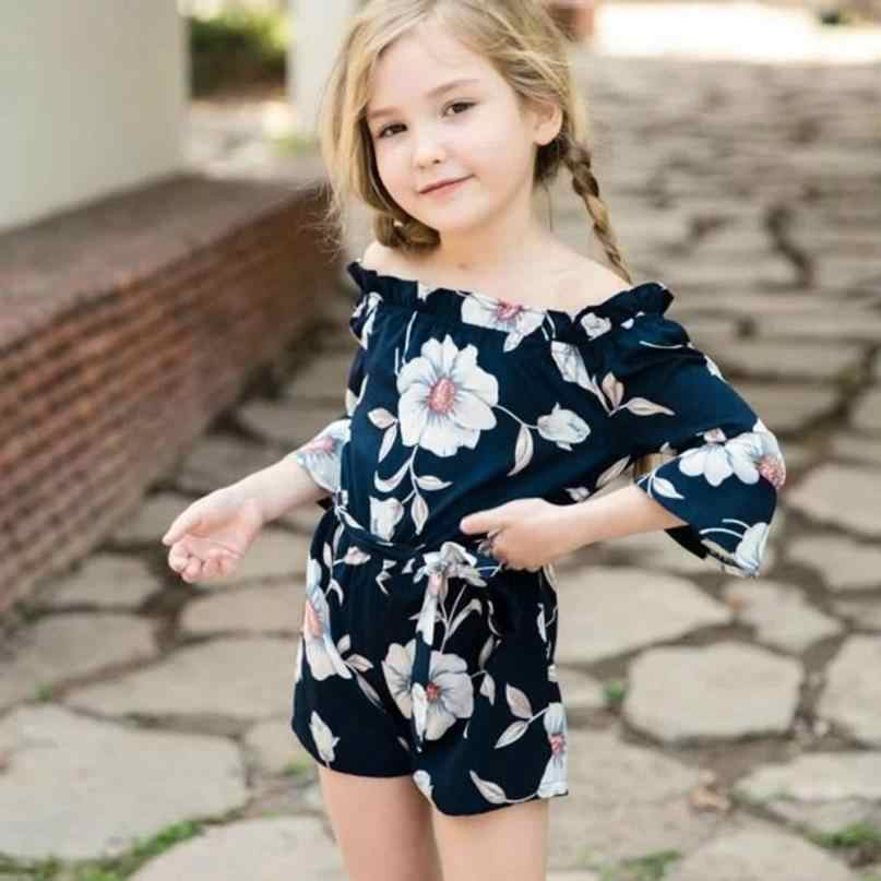 9469e2600e534 MUQGEW Family Clothing Matching Mother Daughter Mother Me Women Floral Half  Sleeve Off Shoulder Family Matching Jumpsuit Clothes