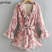 Chic Floral Print Ruffle Jumpsuit Women Long Sleeve V Neck With Belt Elegant Boho Holiday Summer rompers womens jumpsuit Short