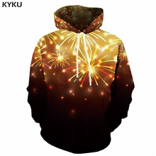 KYKU Christmas Hoodie Men 3d Xmas Psychedelic Hoodies Fireworks Print Anime Sweatshirt Party Mens Clothing Pullover Winter New