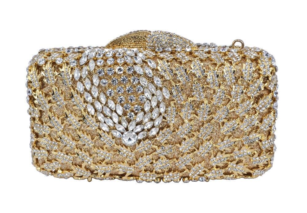 NUEVOS Rhinestones de las mujeres bolsos de embrague de diamantes de ORO anillo