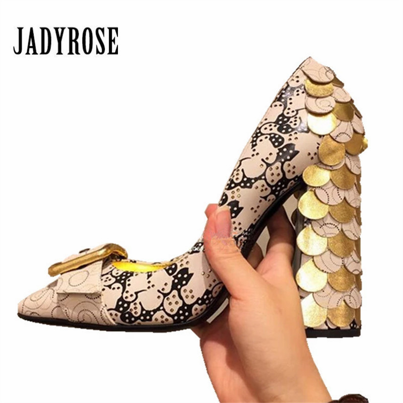 Jady Rose 2019 New Women Pumps Prom Dress Shoes Woman Bling Sequined Chunky High Heels Buckle