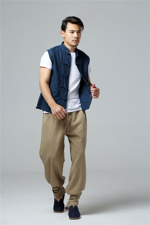 LZJN 2019 Men's Summer Waistcoat Chinese Style Vintage Breathable Linen Button Down Kung Fu Shirt Sleeveless Vest Jacket  (22)