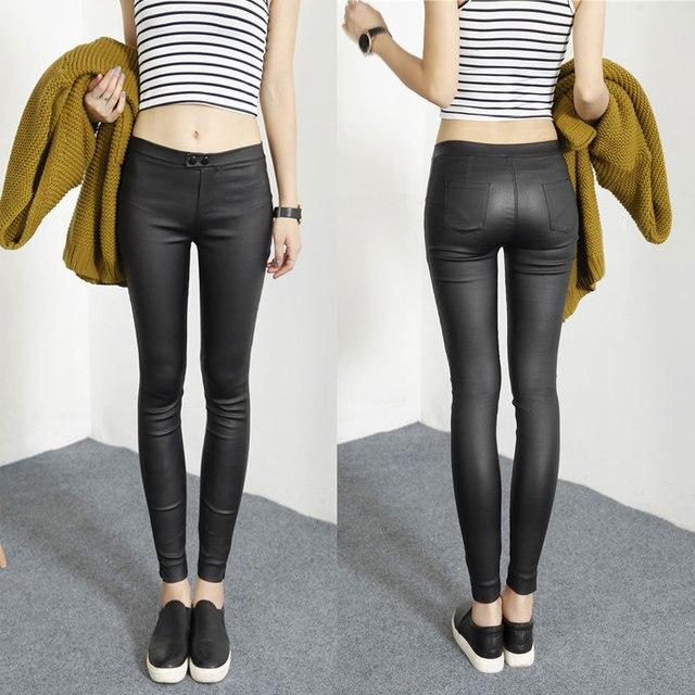 2015 Autumn New Fashion Korean Fall Womens Outer Wear Matt Black Leather Leggings Pencil Pants Skinny Leggings Trousers Women