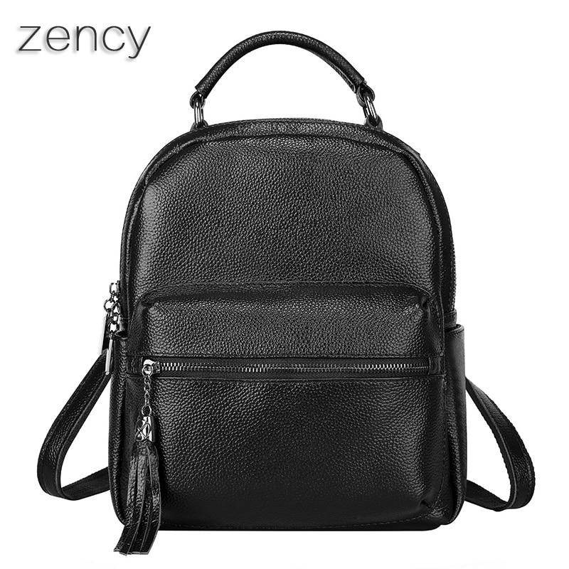 Top Quality Genuine Leather Women s Zency Backpack Female Bags Ladies Backpacks Real Cowhide School Bag