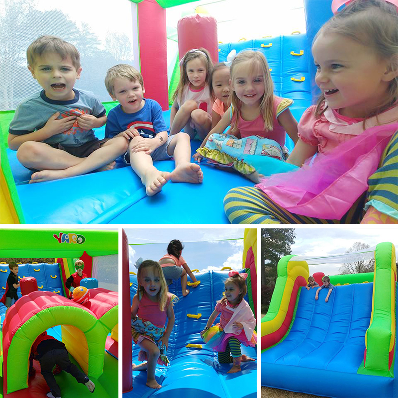 Inflatable Bounce House Obstacle Course Double Slides 6.4x2.8x2.5m Inflatable Trampoline Funny Bouncy Castle Christmas Gift