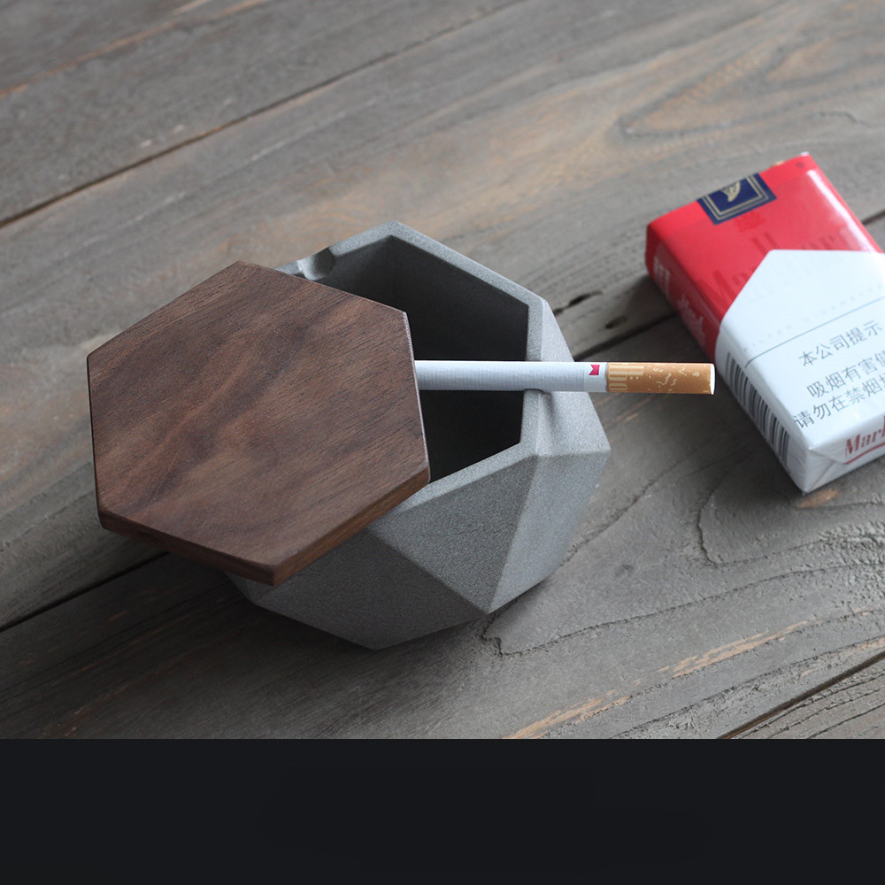 New cement ashtray with wooden cover refined industrial wind modern minimalist home office homestay ashtray