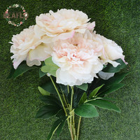 1พวงยุโรปดอกไม้ประดิษฐ์5หัวปลอมช่อดอกโบตั๋นงานแต่งงานตกแต่งบ้าน53