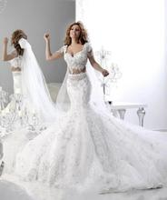 Bling 2017 Sexy Mermaid Wedding Dresses Vintage Two Pieces Lace Bridal Ball Gown Abaya Islamic Chapel Wedding Dresses