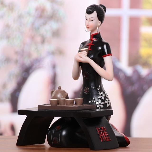 Style chinois beauté Statue Figurine cadeau de mariage armoire à vin salon décor à la maison artisanat décoration de la maison résine Statues artisanat