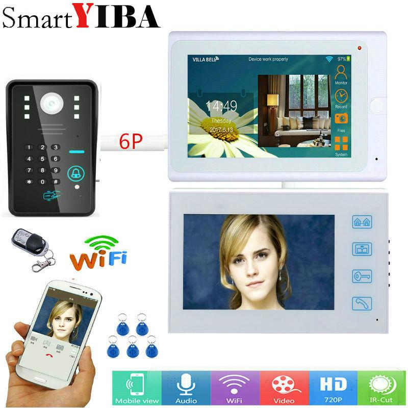 SmartYIBA Video citofono 2*7 pollici Bianco monitor Wired Wifi Password RFID intercom Night Vision Camera Remote APP Sblocco