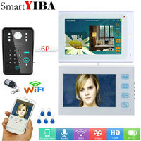 SmartYIBA Video intercom 2*7 inch White monitor Wired Wifi RFID Password intercom Camera Night Vision Remote APP Unlocking