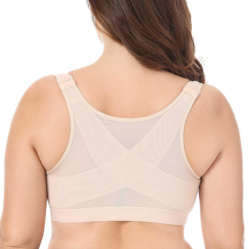 Womens Sports Bra Full Coverage Front Closure Underwear Women's Wire Free Back Support Sports Bra 34 36 38 40 42 44 46  B C D DD