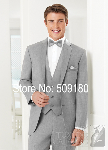 Gray Wedding Tuxedo Two Buttons Slim Fit Wool Prom Tuxedos Men Customized Suit Pants TZ72752 Bespoke Grey Slim Fit Suit