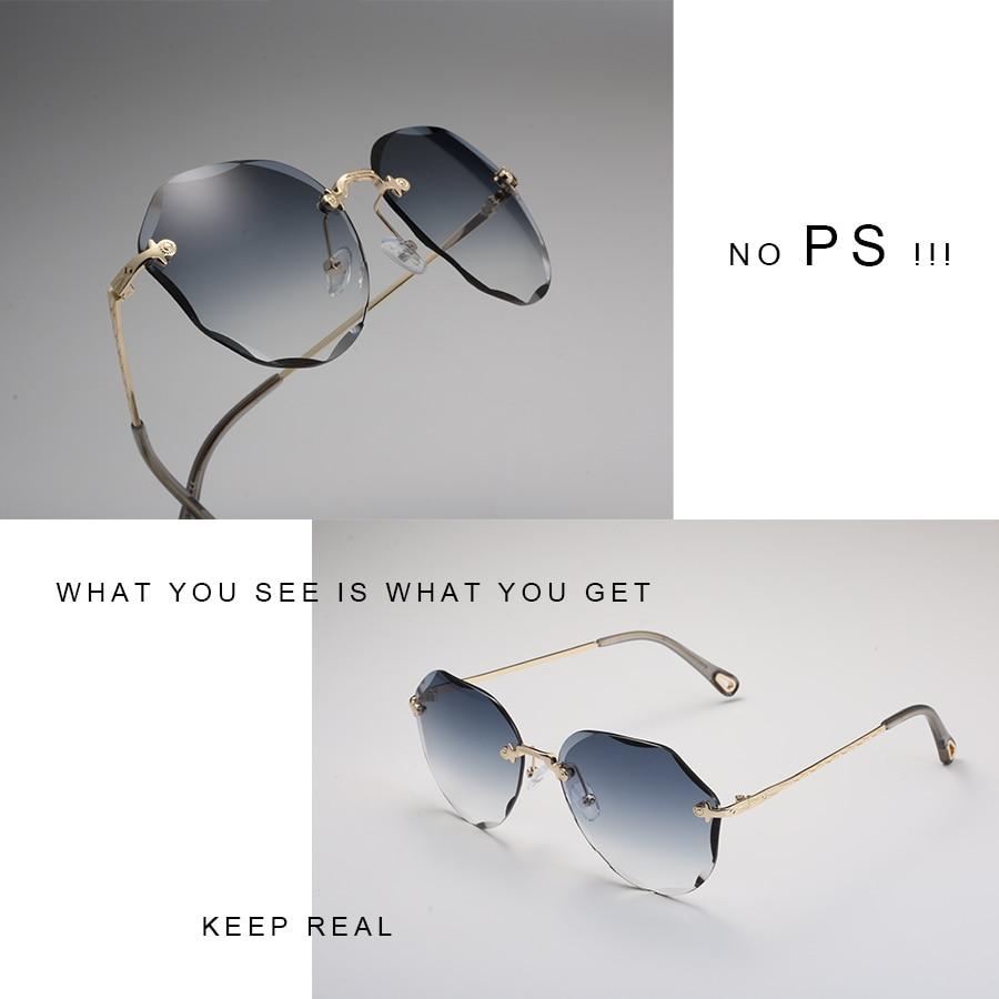 AEVOGUE Sunglasses For Women ladies Rimless Diamond cutting Lens Brand Designer Ocean Shades Vintage Sun Glasses AE0637 3