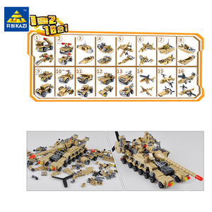Image 3 - Huiqibao 544個16in1軍事戦車ビルディングブロックスーパー車両飛行機トラック車船軍レンガ教育玩具子供のため