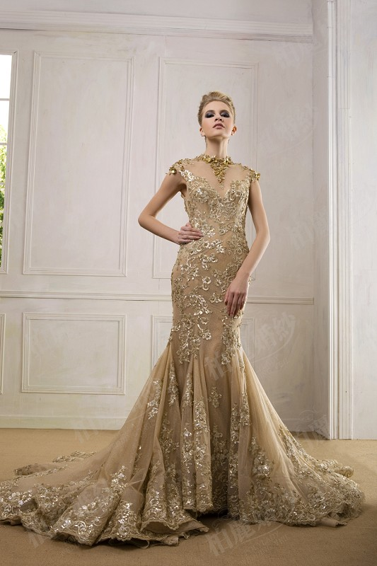 Online Buy Wholesale backless gold wedding dress from China ...
