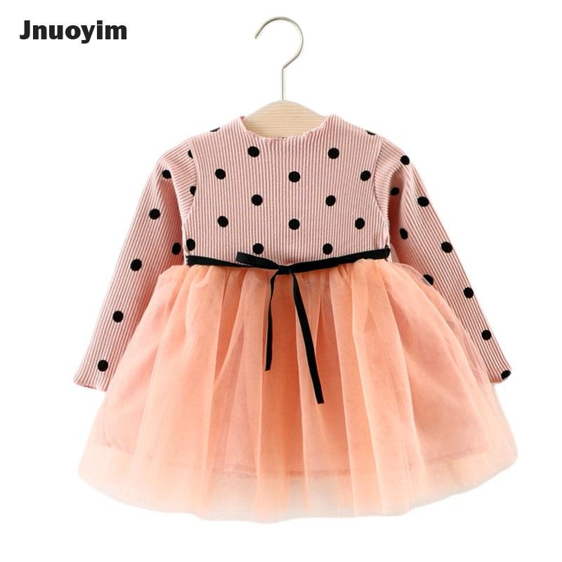 New 2017 Girl Kids Dresses Polka Dot Design Gauze Patchwork Children Clothing Long Sleeve Baby Clothes Princess Sweater Dress new fashion autumn winter girl dress polka dot