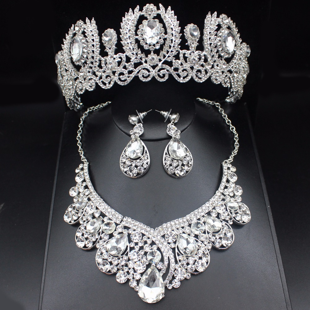 Fashion Clear Crystal Wedding Bridal Jewelry Sets Women Pageant Prom Wedding Jewelry Accessories Bridal Tiara Jewelry Earrings cabeza de toro de colores
