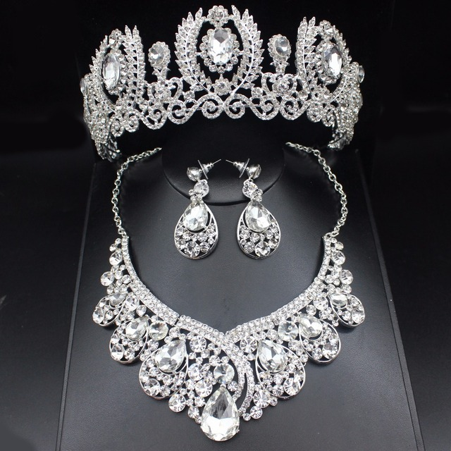 Fashion Clear Crystal Wedding Bridal Jewelry Sets Women Pageant Prom