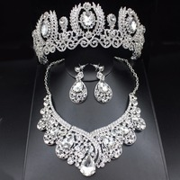 Fashion Clear Crystal Wedding Bridal Jewelry Sets Women Pageant Prom Wedding Jewelry Accessories Bridal Tiara Jewelry Earrings