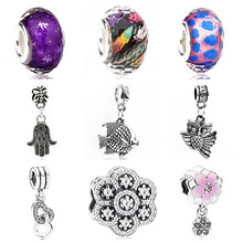 Btuamb Punk Vintage Hamsa Hand Love Heart Flower Crystal Beads Fit Pandora Bracelets Necklaces DIY Making Jewelry Gift Berloque(China)