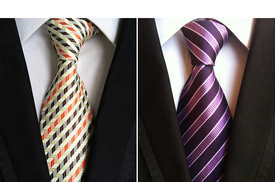 White and Red Stripes Black Mens Tie with Purple Lilac