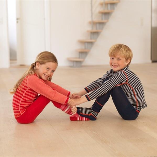 Merino Wool Kids Thermal Underwear Set Pajamas Long Sleeve T Shirt And Pants Quick Dry Spring Baby Boy Girl Clothes Long Johns