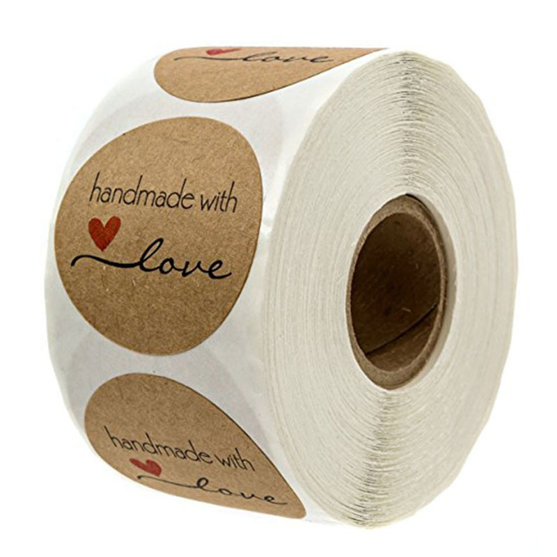 500 Labels per roll Round Natural Kraft Thank You Sticker seal labes Hand Made With Love Sticker Paper Stationery sticker 5