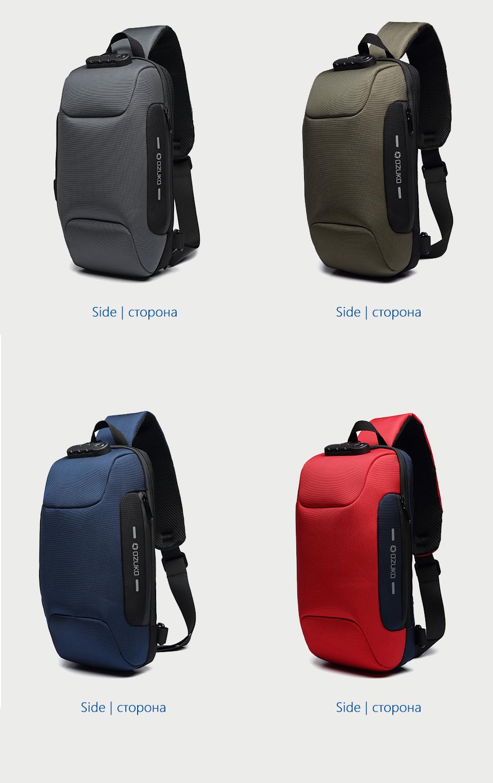 OZUKO 2019 New Multifunction Crossbody Bag for Men Anti-theft Shoulder Messenger Bags Male Waterproof Short Trip Chest Bag Pack 13