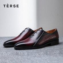 TERSE/; обувь ручной работы; роскошные мужские туфли из натуральной итальянской кожи; повседневная обувь в деловом стиле на шнуровке; модная обувь на плоской подошве; 15770-26