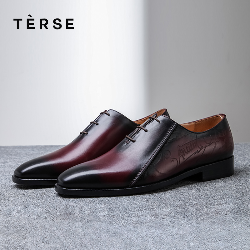 TERSE 100% Handmade shoes Genuine Italian Leather Luxury Men Shoes Lace-Up Business Casual Shoes Fashion Flats shoes 15570-26