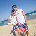 2016 Summer High Waisted Red white star Beach Women and Men Bermuda Casual Sweat Jogger Cargo Shorts XXL 023