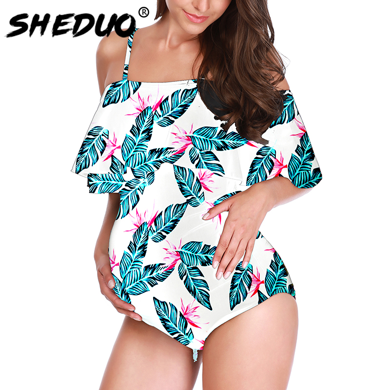Maternity Plus size Swimwear Women Beach Body suit Ruffle Pregnant One piece Swimsuit Big size Monokini 2019 New 5xl-4