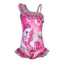 AmzBarley Unicorn Rainbow Girl One-Piece Swimsuit One Shoulder Swimwear Ruffled Swimming Costume Bathing Suit Swimwears