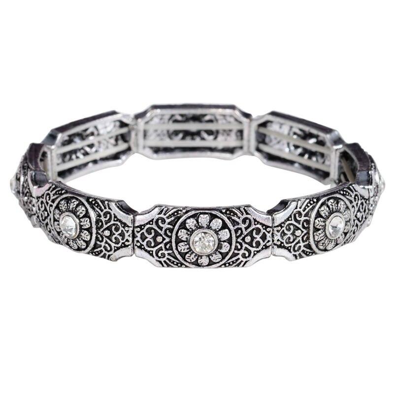 Rhinestone Carved Flower Bracelets