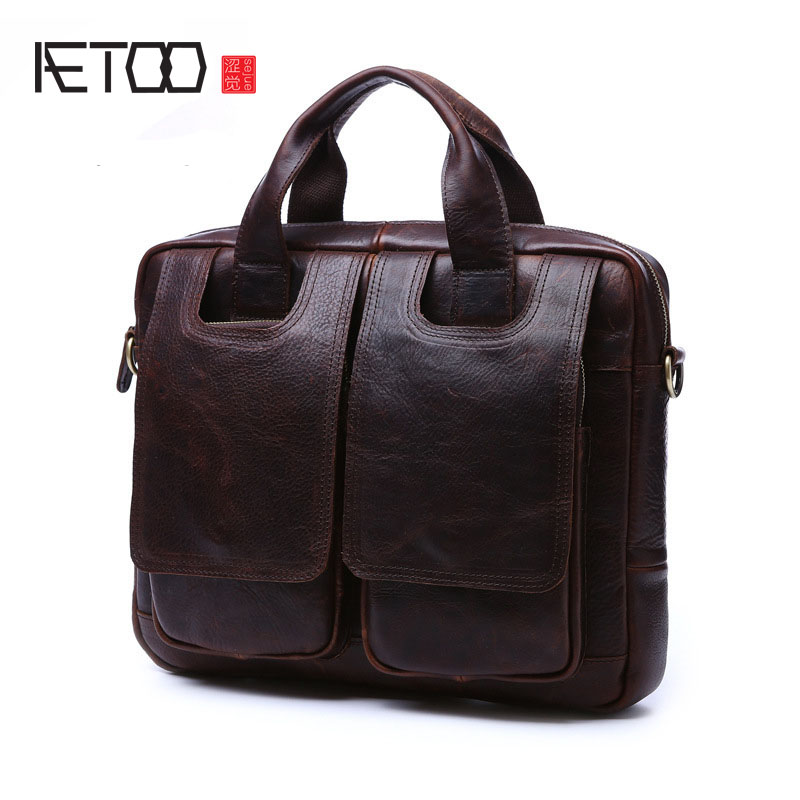 AETOO The first layer of cowhide retro men handbags crazy horse skin male package briefcase leather portable Messenger computer briefcase men s style leather casual male mad horse skin retro brown leather men s business package handbag 2017 the latest