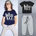 2016 Summer boys girls cotton Sets Toddler Korean O Neck Short Sleeve Children T-shirt and pans Tracksuit print fille