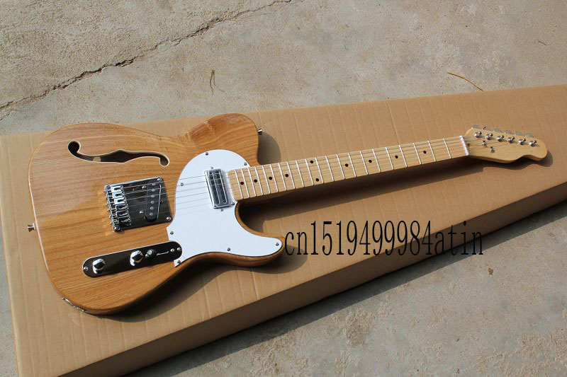 free shipping new semi hollow telecaster electric guitar models tele single f hole wood color. Black Bedroom Furniture Sets. Home Design Ideas