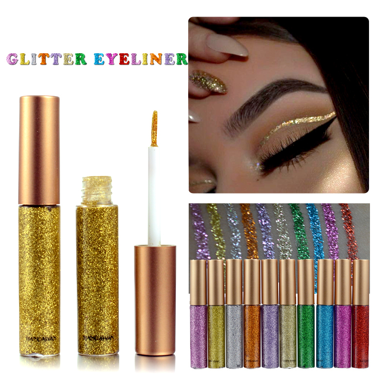 New Shimmer Glitter Eyes Liner For Women Make Up Easy To Wear Waterproof Pigment Red White Gold Liquid Eyeliner Glitter Makeup