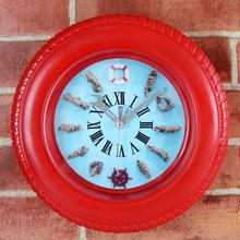 3D Round Tyre Wheel Red Wall Clock Modern Design Mediterranean Rudder Desk Clock Alarm Clock Silent Non-ticking Wall Clock