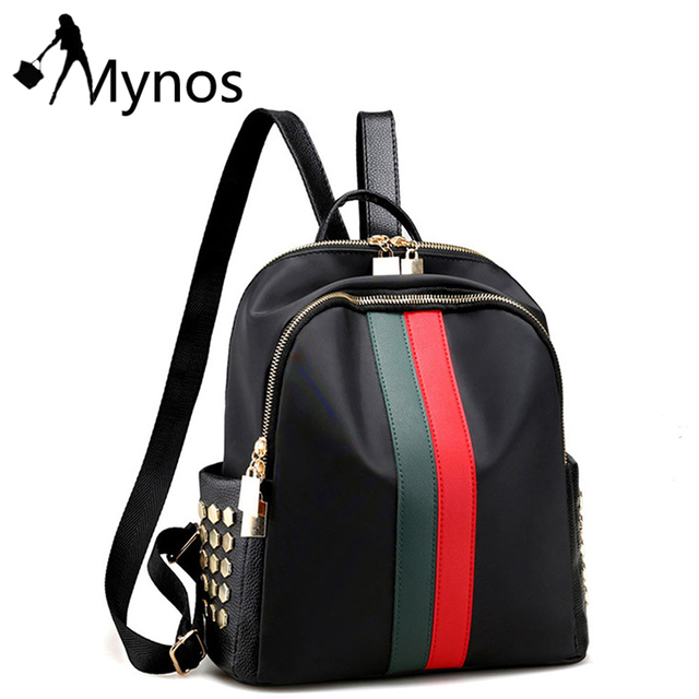 1c797ba130 Mynos Women Nylon Backpacks Rivet Studded Daypack Luxury Backpack for  Female Waterproof Casual Shoulder Bag Mochilas Sac Mujer