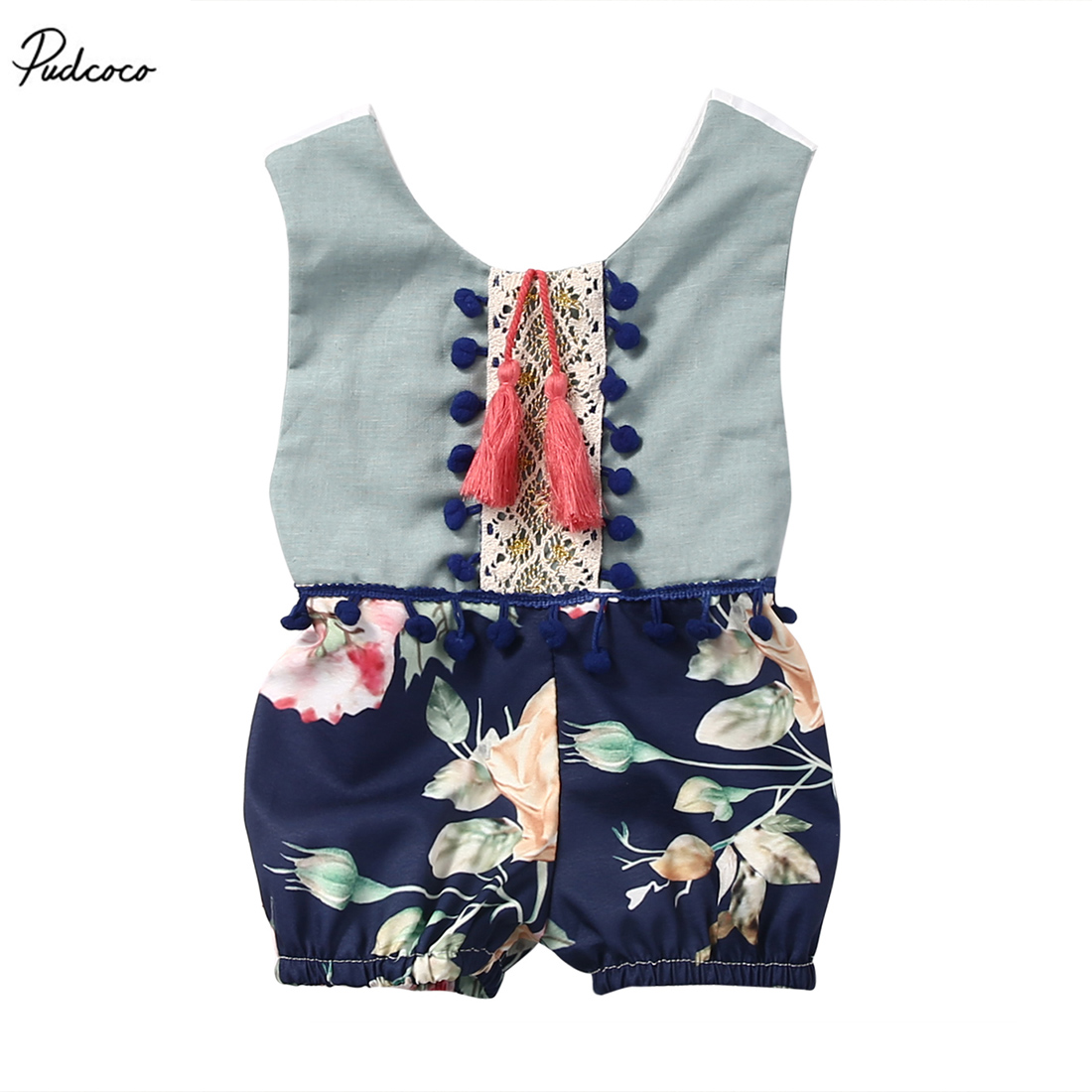 Toddler Baby Girls Lovely Casual Patchwork Tassel Romper Sleeveless Jumpsuit Clothes Outfits Lace Floral Sunsuit Outfits 2017 summer toddler kids girls striped baby romper off shoulder flare sleeve cotton clothes jumpsuit outfits sunsuit 0 4t