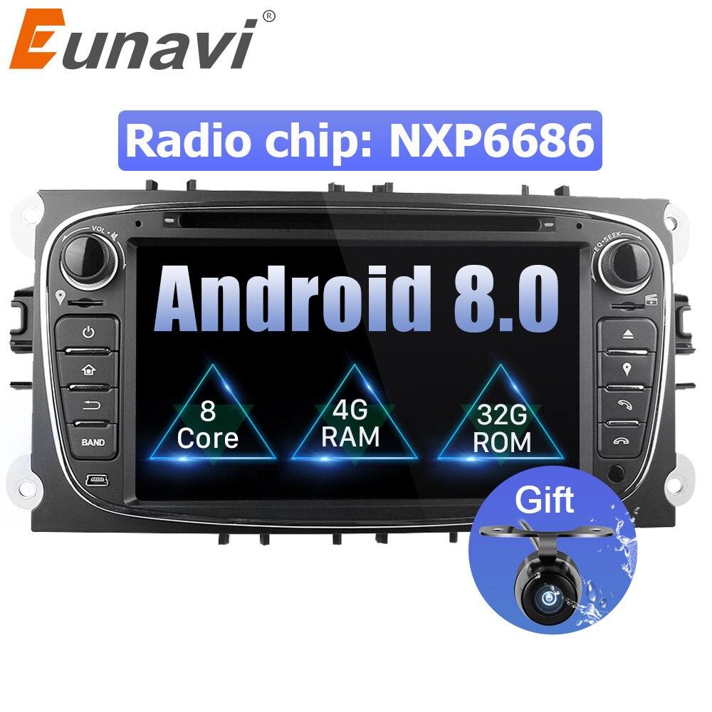 Eunavi 2 Din 7 Android 8,0 Восьмиядерный автомобильный dvd-плеер DAB + WiFi 4 г Canbus онлайн карта gps навигатор для Ford Focus II Mondeo S-Max
