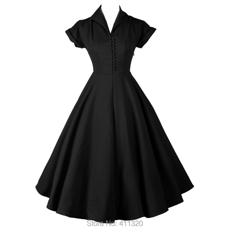 Womens Classic 1940s 50s 60s Celebrity Vintage Retro Style Rockabilly Pin up Swing Summer Black Burgundy Wedding Party Dresses (2)